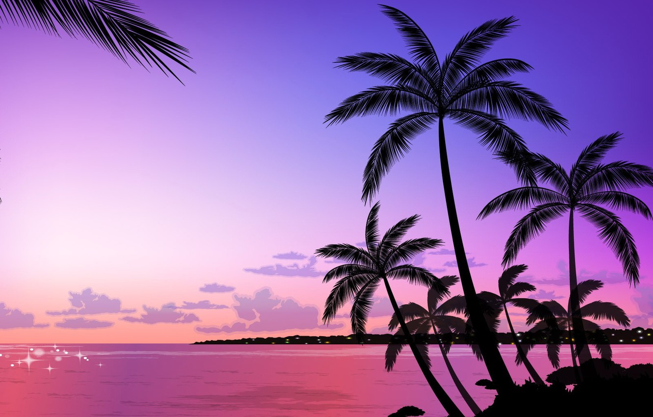 Photo wallpaper palm trees, vector, the evening