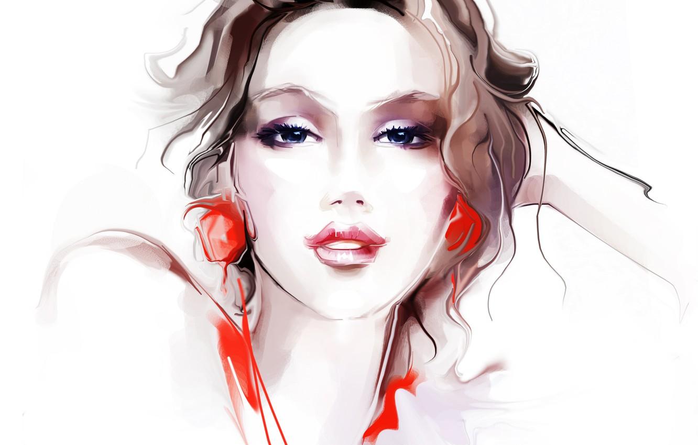 Photo wallpaper eyes, look, girl, face, background, hair, hand, earrings, makeup, red, Tatiana Nikitina