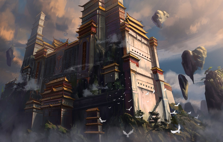 Photo wallpaper clouds, birds, Asia, height, art, temple