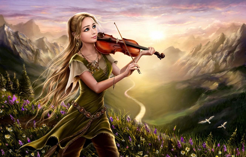 Photo wallpaper girl, flowers, mountains, birds, nature, river, dawn, violin, hill, fantasy, art