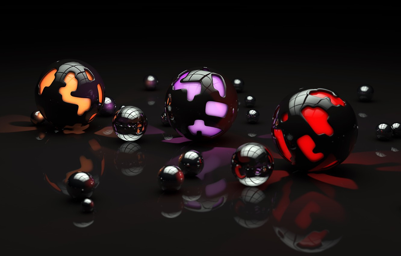 Photo wallpaper surface, light, reflection, balls, pattern, art, different, sphere