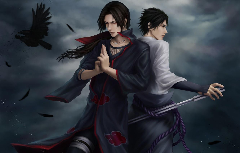 Photo wallpaper clouds, katana, feathers, naruto, ninja, Raven, Sasuke, Naruto, art, Sasuke, Itachi, Uchiha, Itachi, Uchiha, zetsuai89