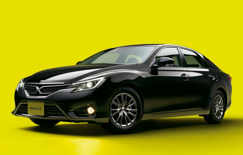 Photo wallpaper black, Toyota, car, yellow background, Mark X 2