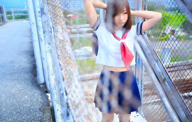 Photo wallpaper girl, face, form, schoolgirl, Asian