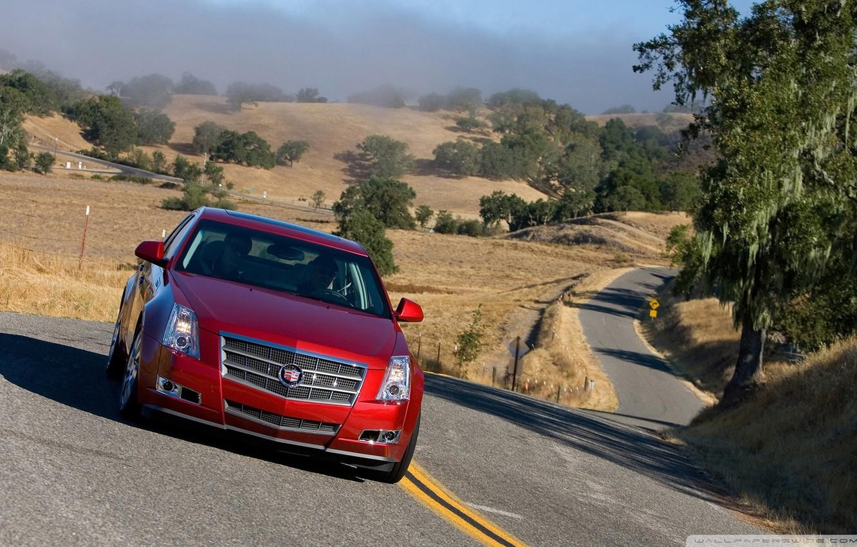 Photo wallpaper road, Cadillac, 2008, red, GTS