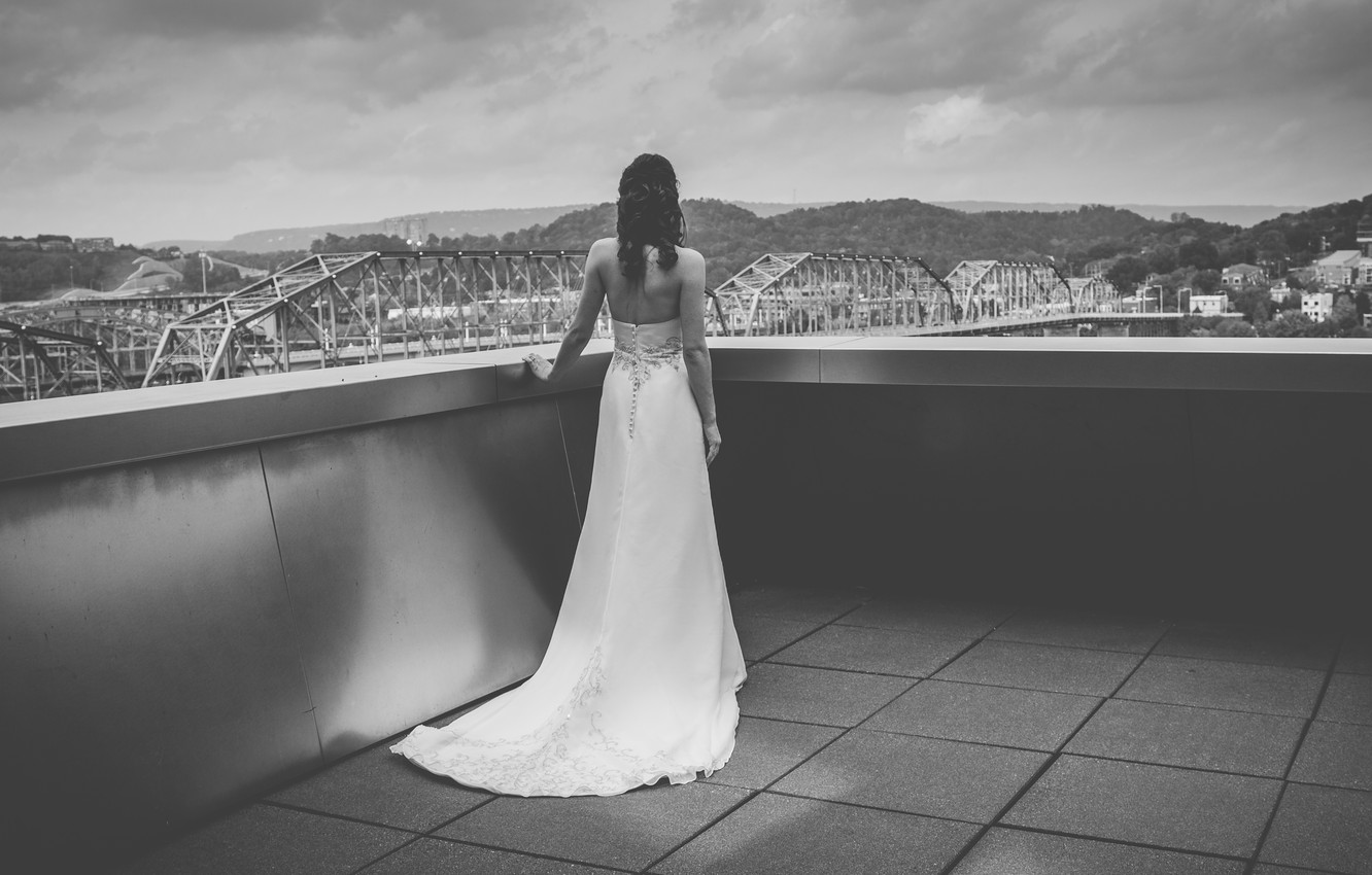 Photo wallpaper girl, white, back, dress, b/W, black and white, the bride