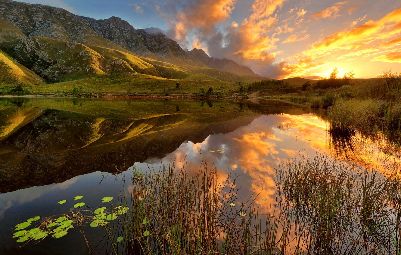 Photo wallpaper the sky, grass, water, the sun, clouds, lake, Mountains