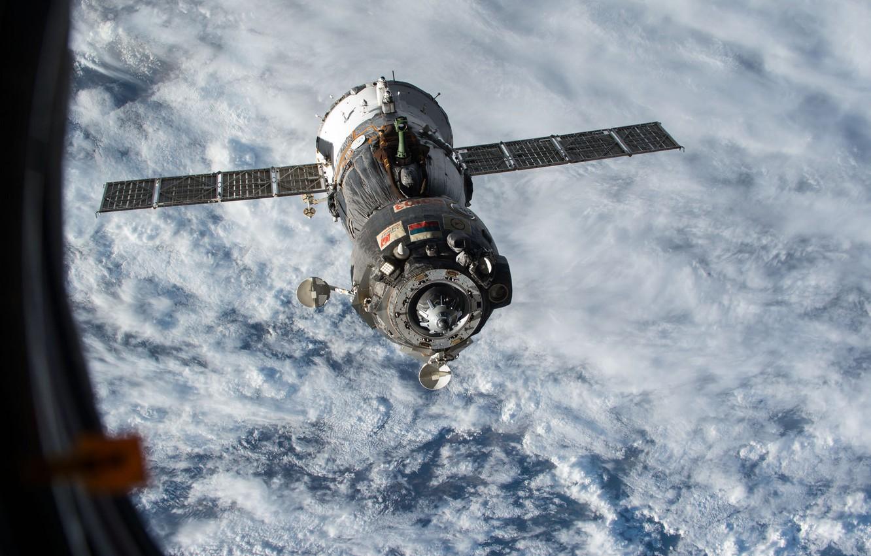 Photo wallpaper space, ship, space, Union, manned, Soyuz, TMA15M