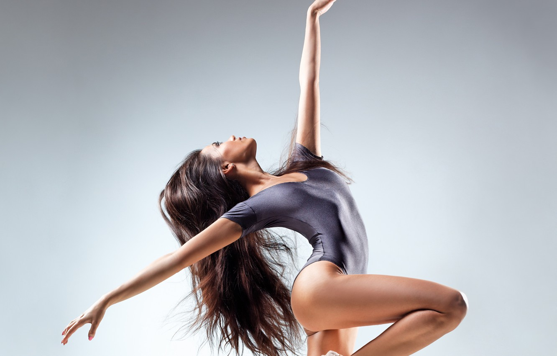 Photo wallpaper girl, dance, profile, brown hair, long-haired
