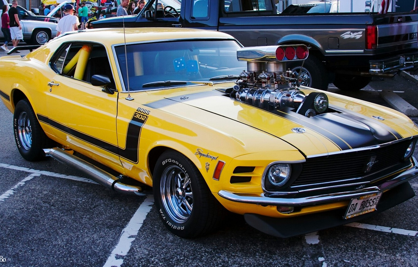 Photo wallpaper yellow, Mustang, Ford, muscle car, 1970 Ford Mustang