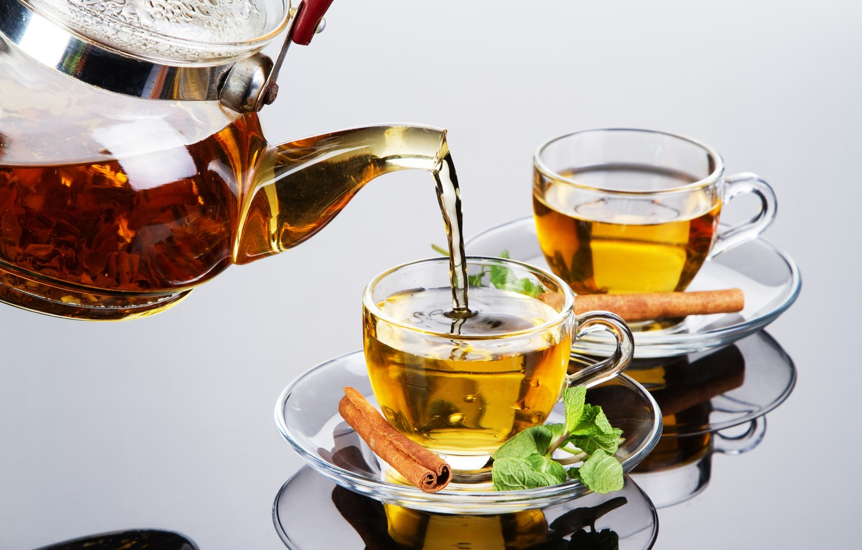 Photo wallpaper glass, reflection, tea, kettle, Cup, cinnamon, mint, welding