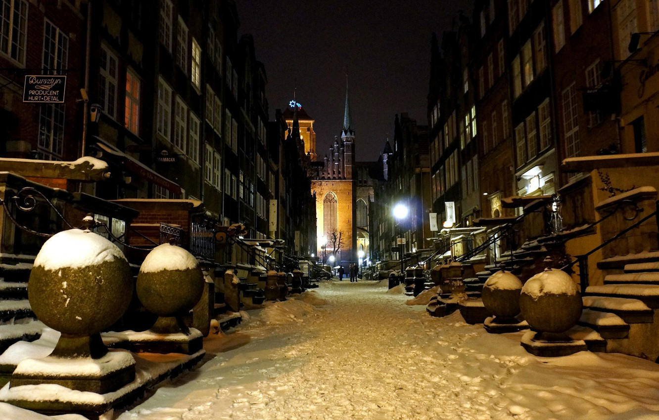 Photo wallpaper winter, night, street, home, Poland, Gdansk