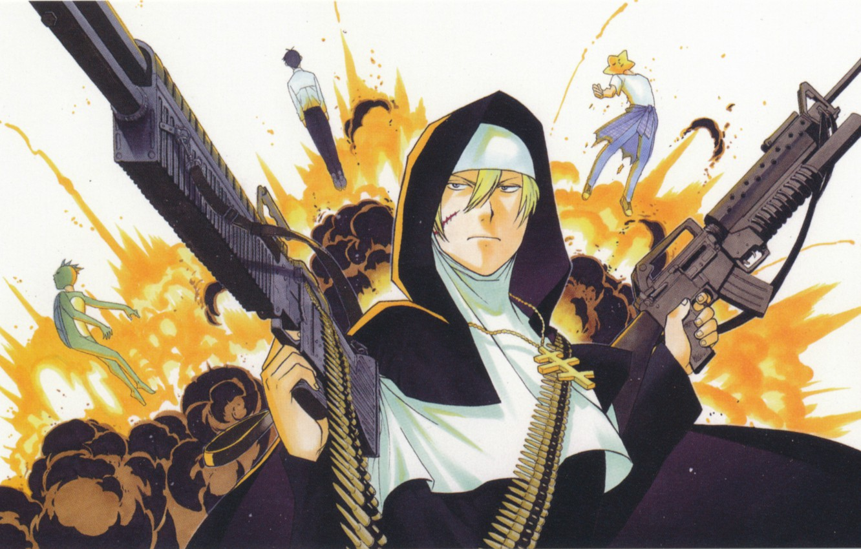 Photo wallpaper the explosion, cross, machine, machine gun, cartridges, nun, art, sister, Kappa.star, arakawa under bridge, cole's …