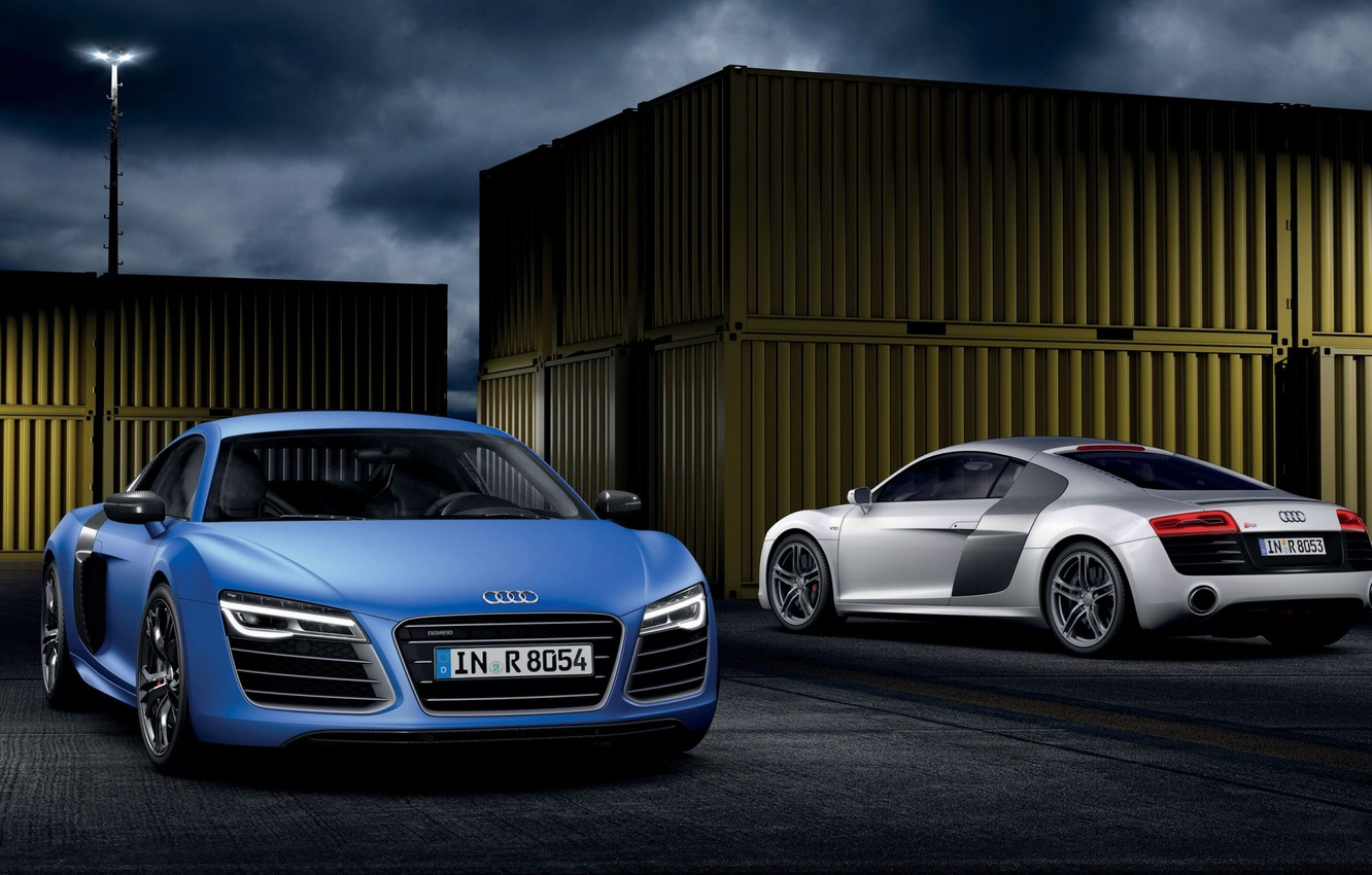 Photo wallpaper the sky, night, blue, Audi, Audi, silver, supercar, rear view, the front, containers, V10, B10, …