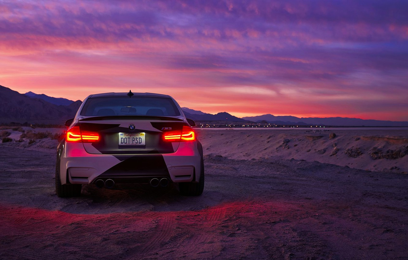 Photo wallpaper BMW, Light, Clouds, Sky, Black, Sunset, White, Rear, And