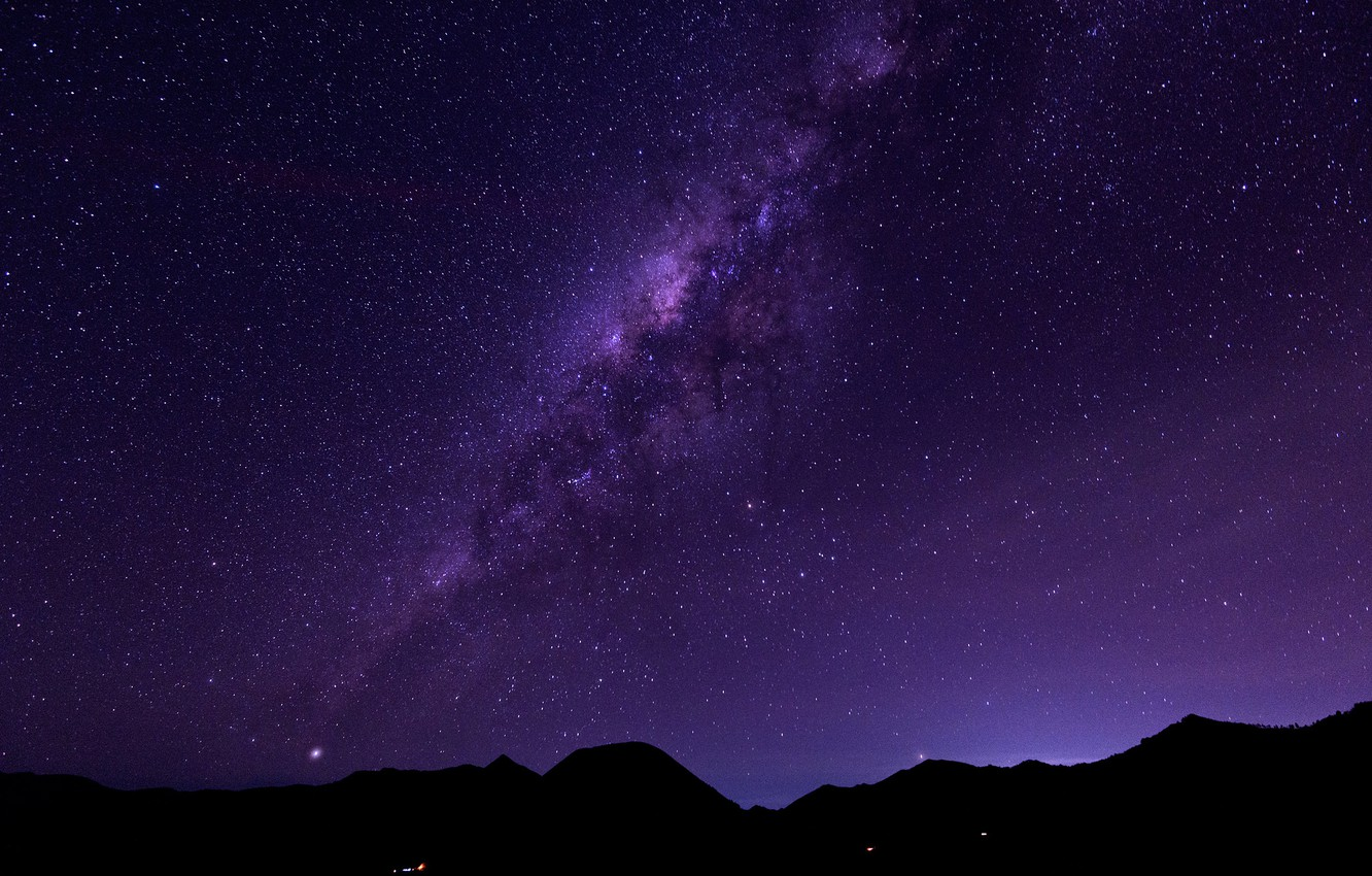 Photo wallpaper space, stars, mountains, The Milky Way, mystery
