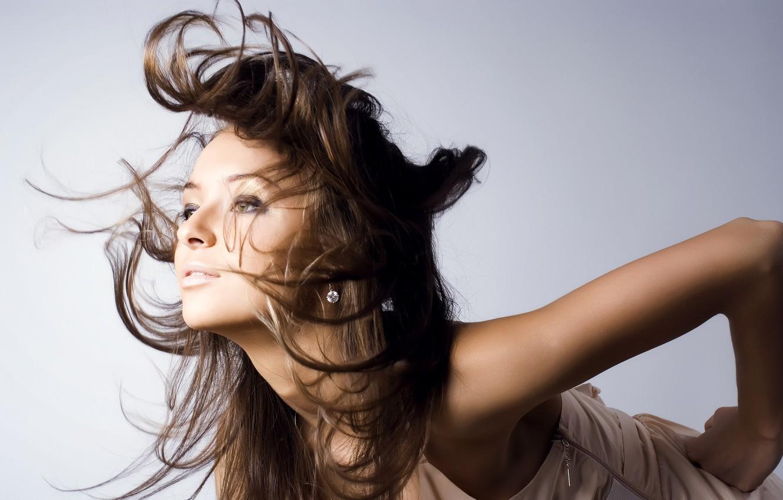 Photo wallpaper look, pose, the wind, Brown hair, long hair