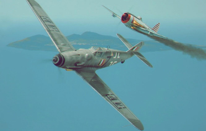 Обои war, painting, aviation, ww2, aircraft, air combat, P 47 thunderbolt, drawing, dogfight. Авиация foto 9