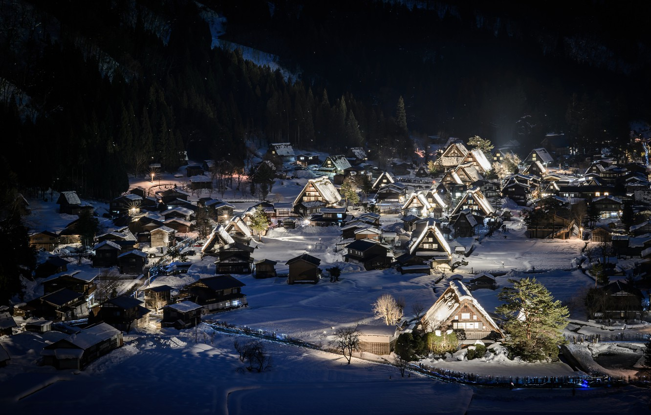Photo wallpaper winter, forest, snow, mountains, night, holiday, home, town