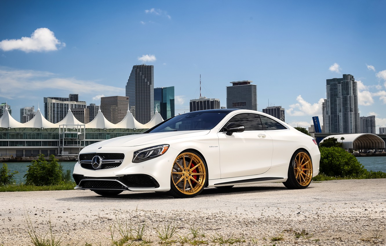 Photo wallpaper Mercedes, AMG, Gold, Wheels, S63