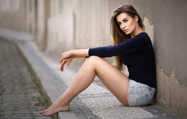 Photo wallpaper girl, street, shorts, legs, sitting, Lucy