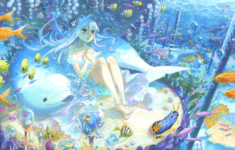 Photo wallpaper fish, Dolphin, bubbles, art, girl, under water, kyouya kakehiki