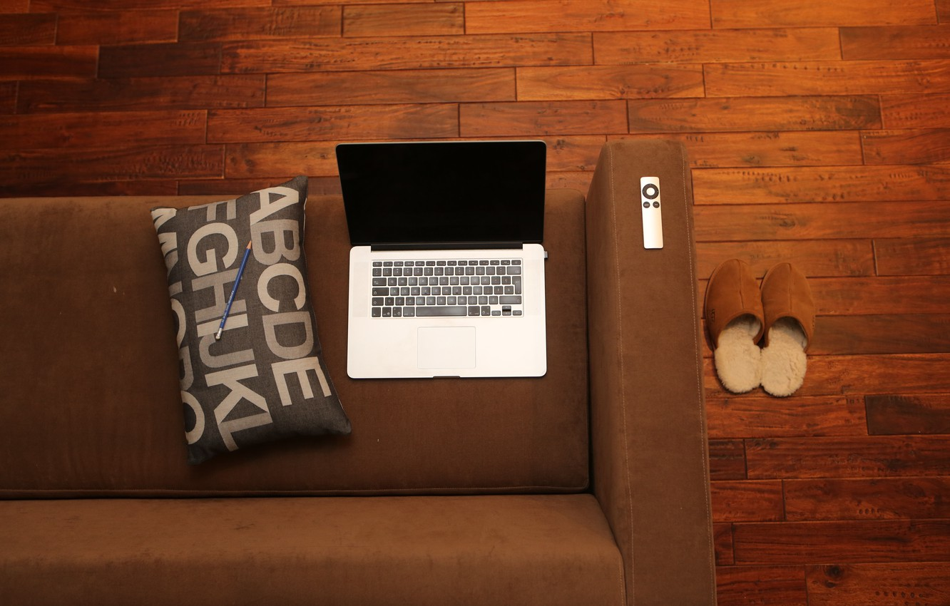 Photo wallpaper sofa, pillow, pencil, laptop, Slippers
