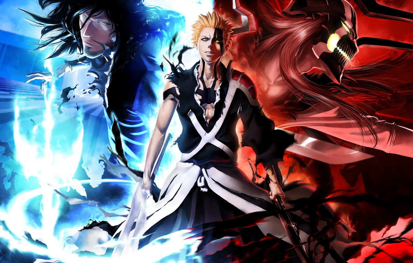 Wallpaper Mask Swords Bleach Ichigo Kurosaki Anime Art Empty