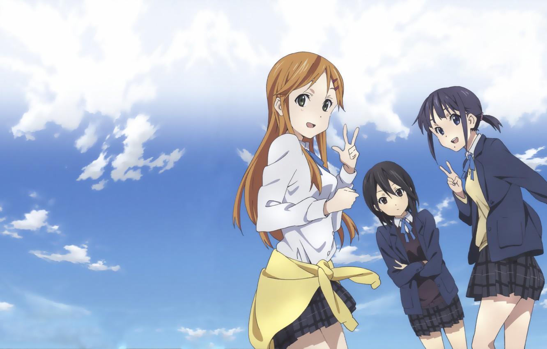 Photo wallpaper Anime, Yui Suggests Kiriyama, Iori Nagase, The sky., Kokoro Connect, Himeko Inaba