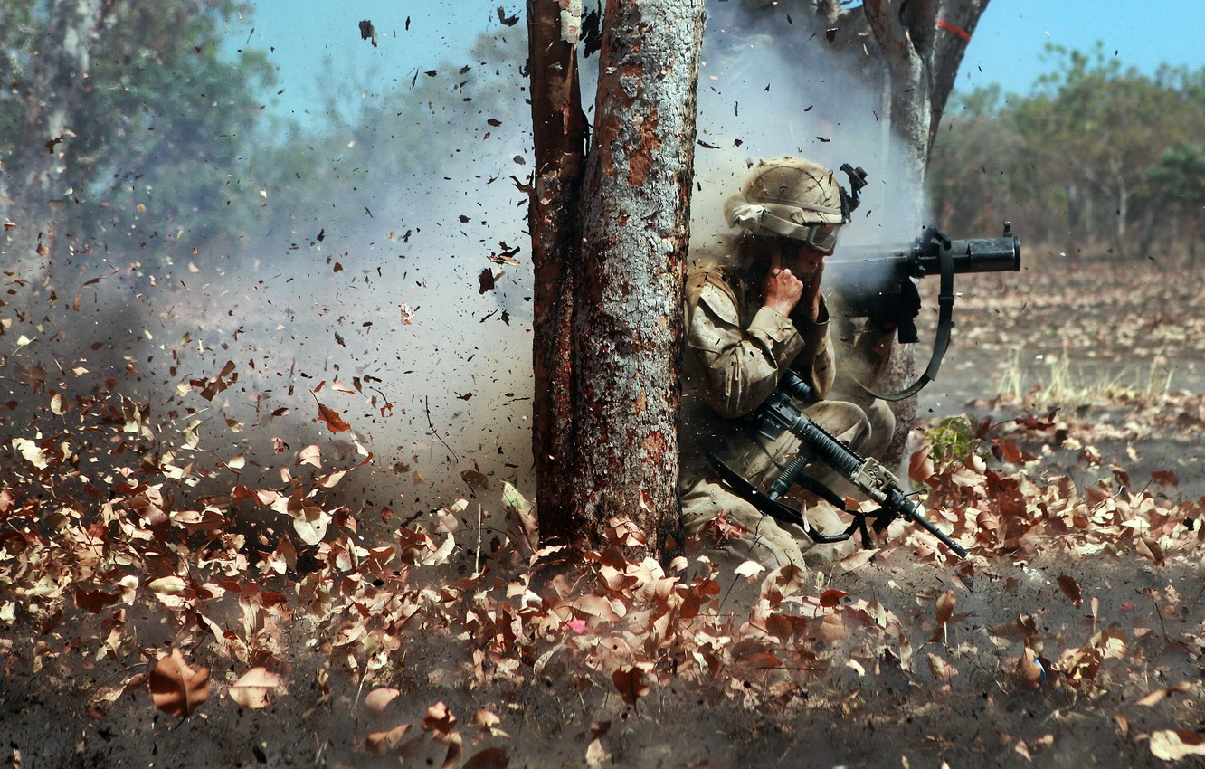 Photo wallpaper military, marine corps, The Leaf Blower