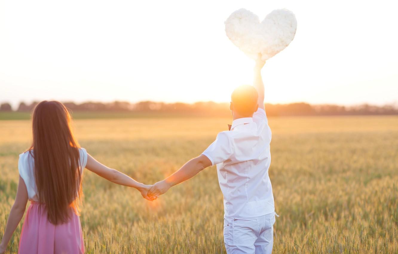 Photo wallpaper field, girl, love, nature, background, Wallpaper, mood, woman, heart, pair, wallpaper, male, ears, girl, love, …