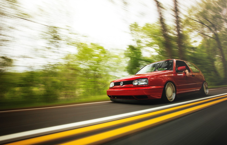 Photo wallpaper road, red, speed, volkswagen, red, Golf, golf, Volkswagen, MK3