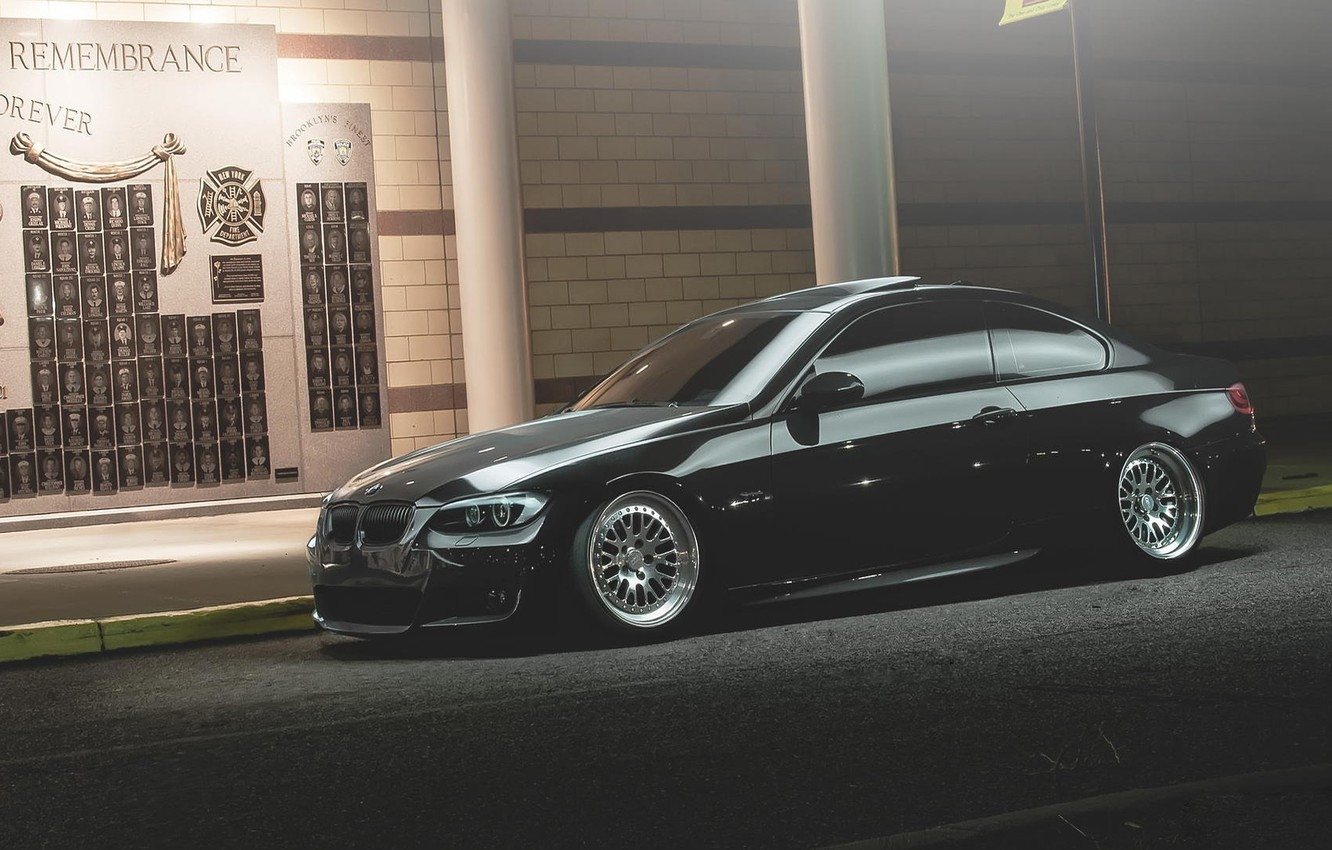 Photo wallpaper the evening, BMW, BMW, roadside, tuning, E92