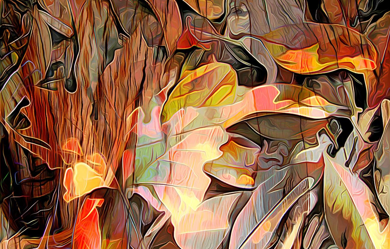 Photo wallpaper autumn, leaves, line, rendering, paint