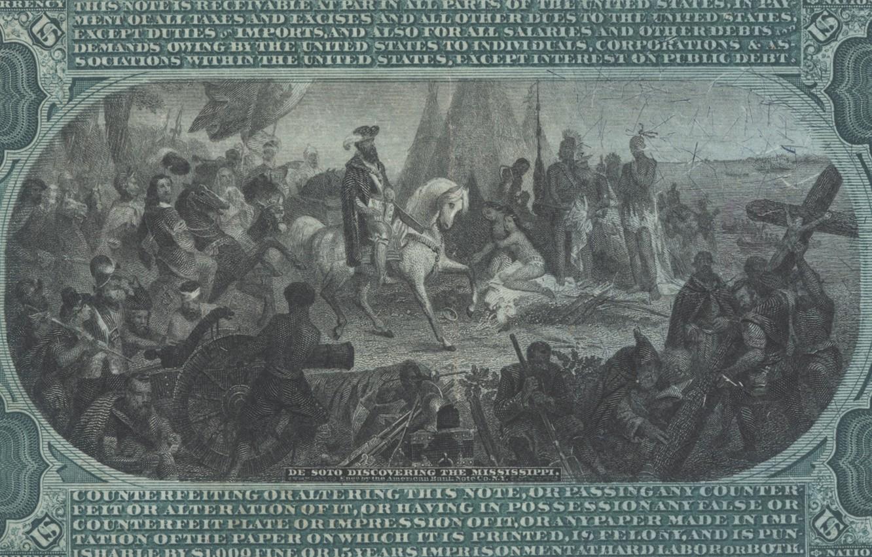 Photo wallpaper people, eagle, horse, shield, 10 dollar bill
