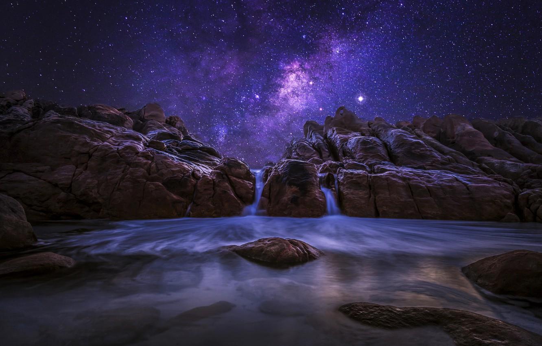 Photo wallpaper the sky, stars, night, nature, stones, the ocean, rocks, the milky way, Western Australia