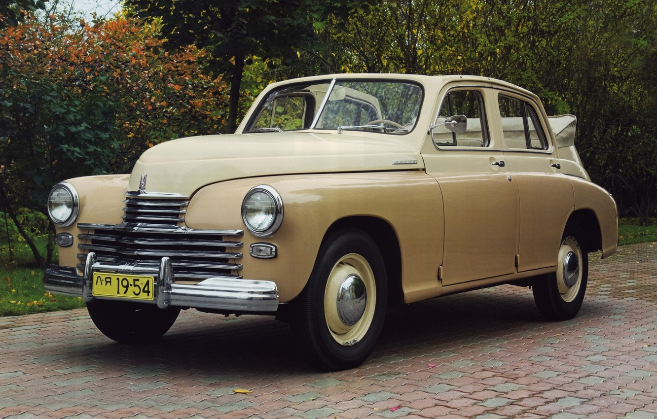 Photo wallpaper background, Convertible, classic, Victory, beige, the front, GAS, M-20, GAZ, 1949, PR. victory