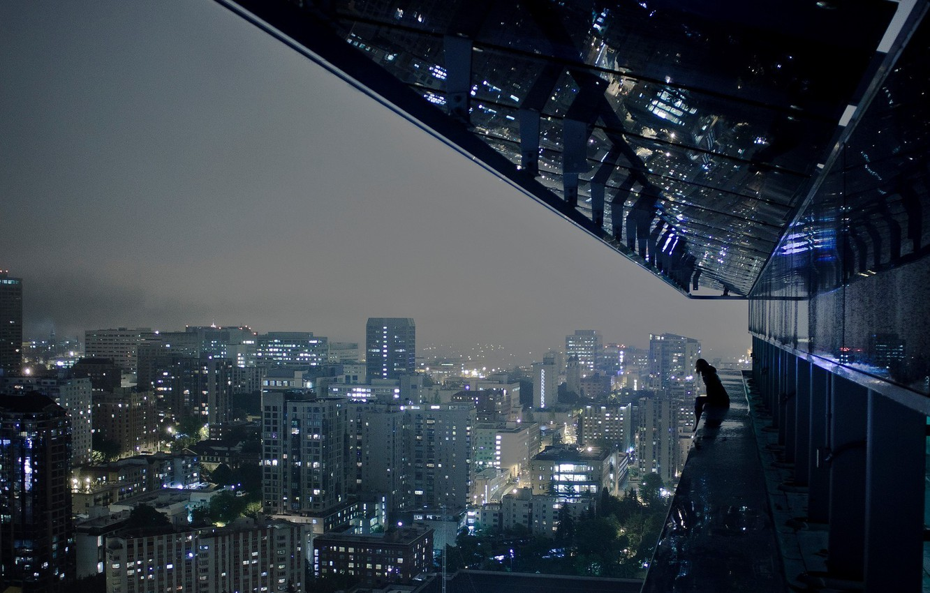 Photo wallpaper night, the city, lights, loneliness, height, megapolis