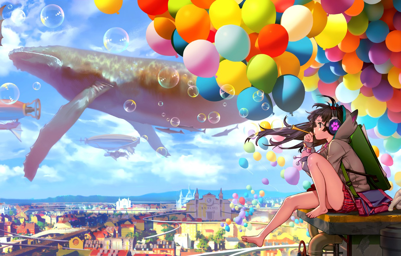 Photo wallpaper the sky, cat, girl, clouds, balls, the city, bubbles, home, anime, headphones, art, nothing, catteeth