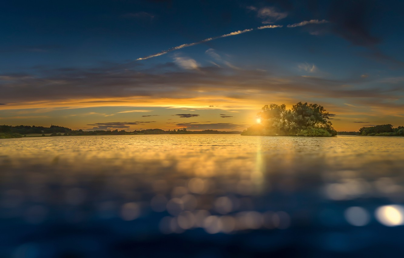 Photo wallpaper the sky, the sun, clouds, lake, island