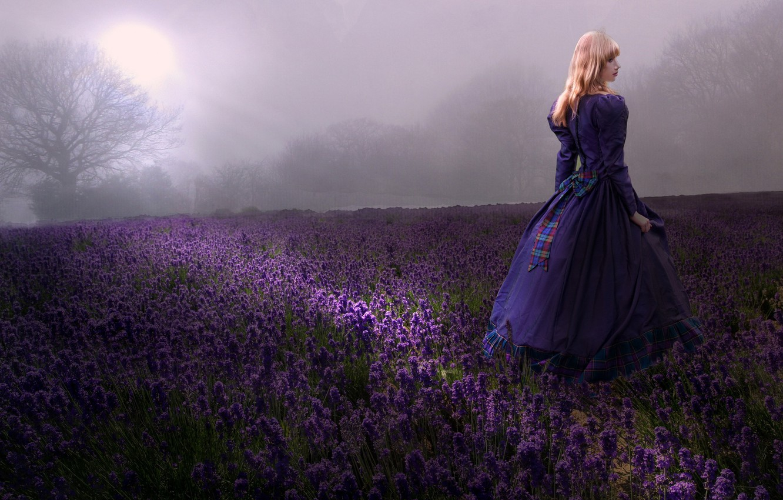 Photo wallpaper field, girl, lavender