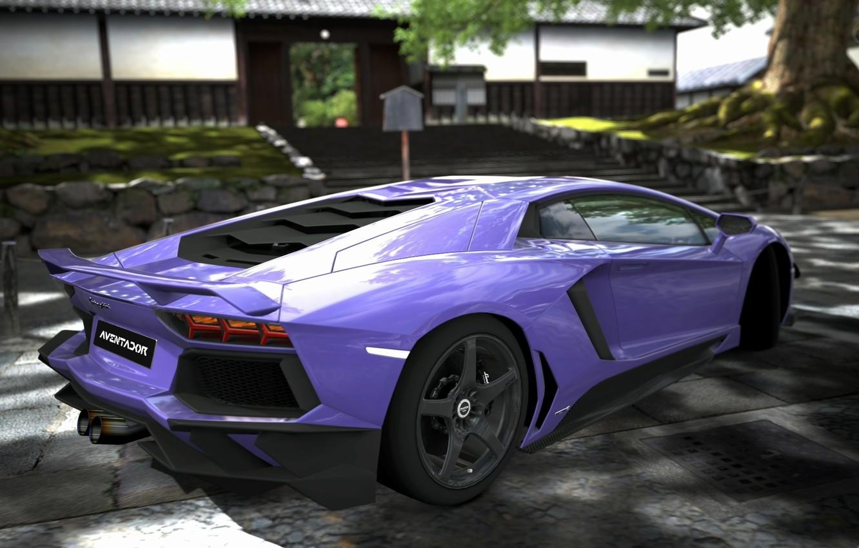 Photo wallpaper lamborghini, rear view, Lamborghini, purple, aventador, purple, aventador