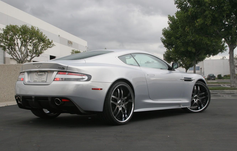 Photo wallpaper the sky, trees, clouds, Aston Martin, the building, DBS, silver, wheels, rear view, Aston Martin, …