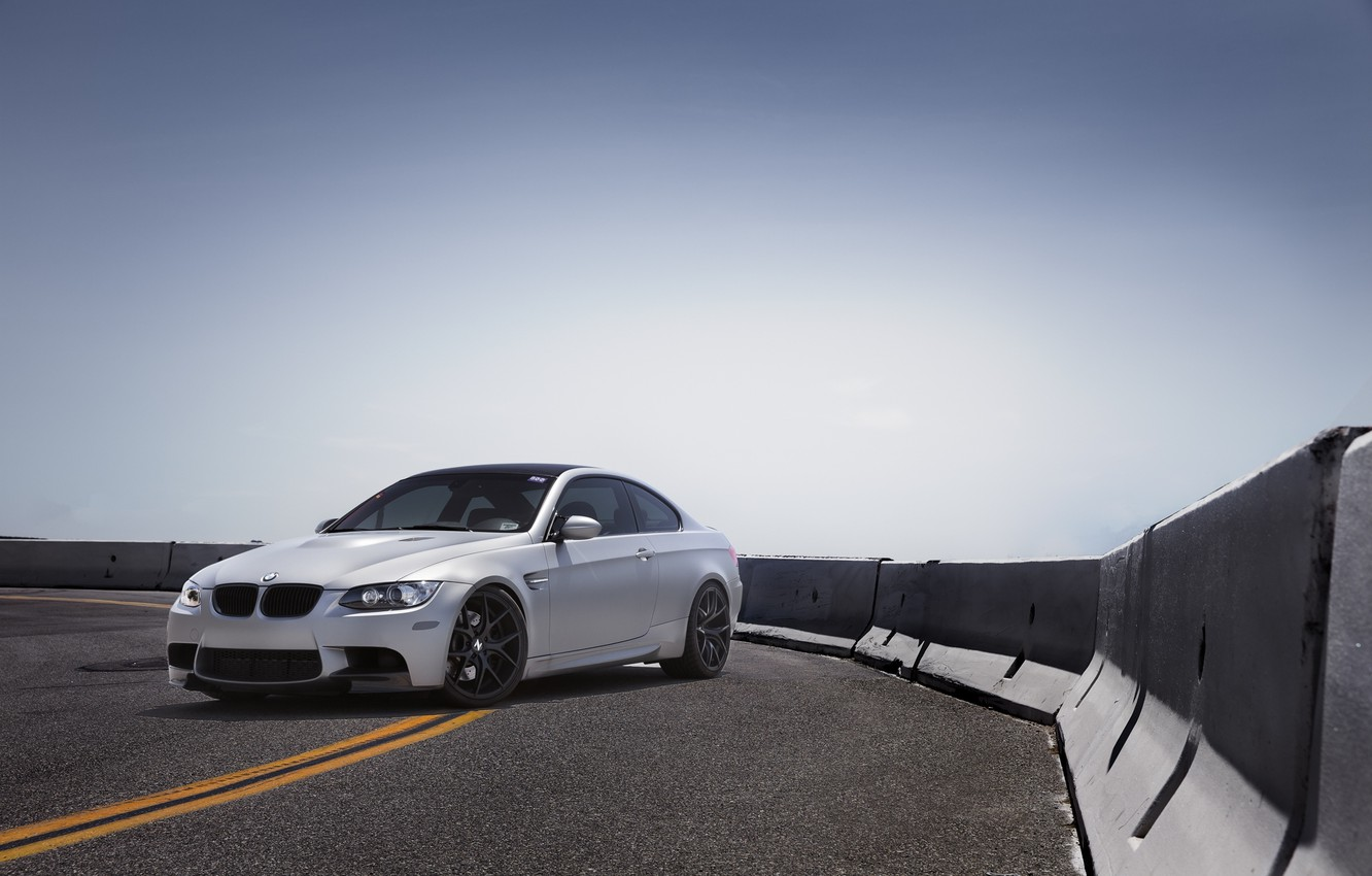 Photo wallpaper road, the sky, bmw, BMW, silver, turn, e92, silvery