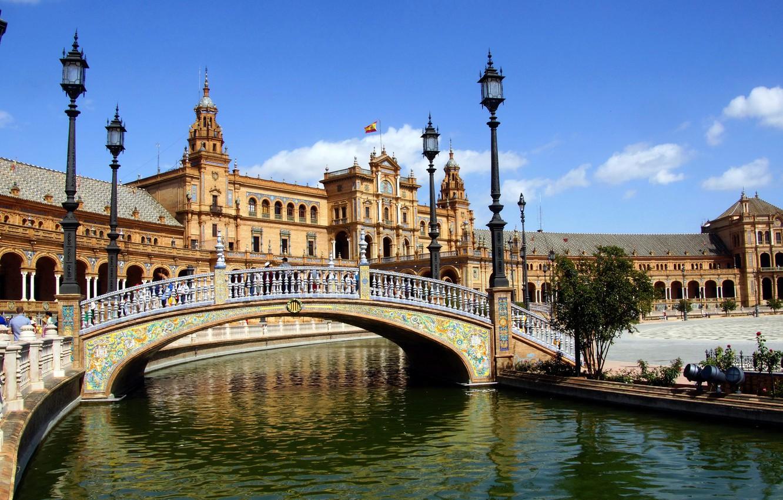 Photo wallpaper bridge, river, area, lights, channel, architecture, Spain, Palace, Sevilla, Plaza de Espana