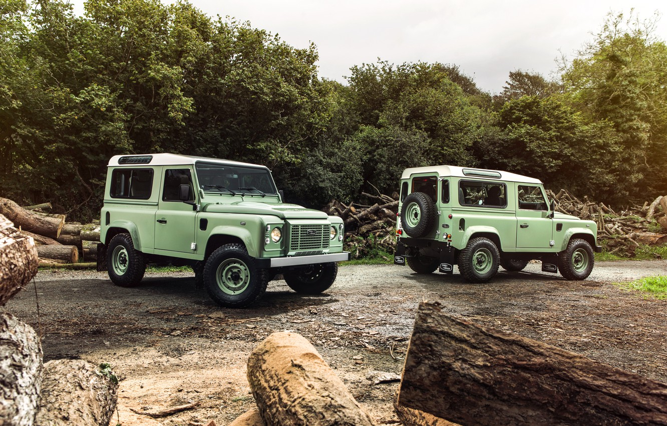 Photo wallpaper photo, Two, Land Rover, Range Rover, Cars, Green, Defender 90 Heritage
