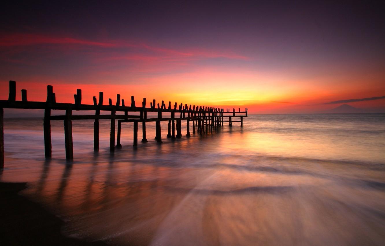 Photo wallpaper sea, the sky, the sun, landscape, sunset, nature, the ocean, dawn, beach, sky, ocean, landscape, …