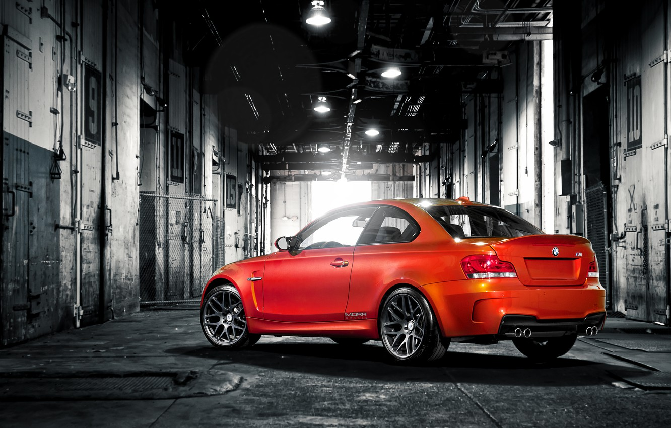 Photo wallpaper red, BMW, the trunk, red, the barn, warehouse, e82, trunk