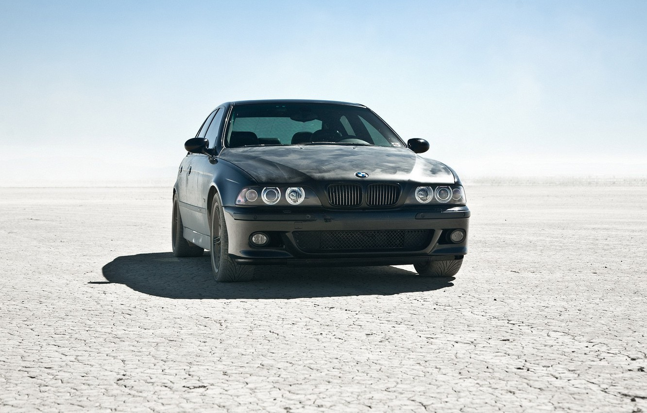 Photo wallpaper the sun, desert, BMW, BMW, car, black car, m5 e39, cool