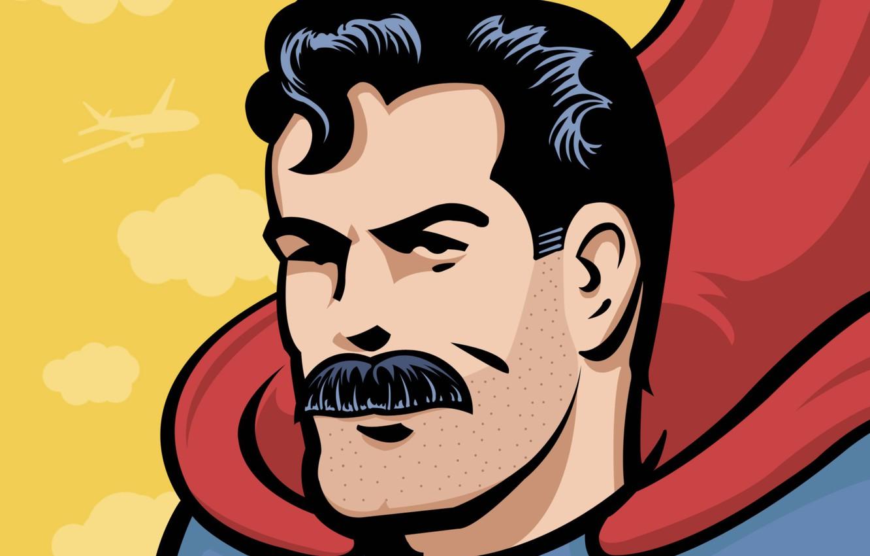 Photo wallpaper mustache, hero, Superman, bristles, comic, comics, Superman, hero, Clark Kent, baleen, Clark Kent, mustache, man …